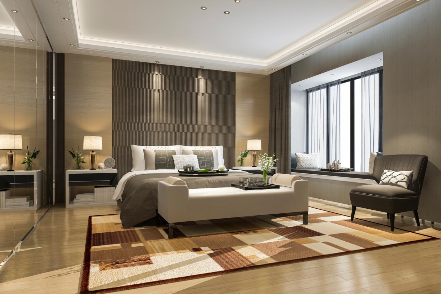 3d rendering beautiful luxury bedroom suite hotel with mirror wardrobe 1